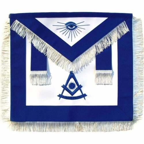 MASONIC HAND EMBROIDERED PAST MASTER APRON BLUE WITH WHITE FRINGE-LAMBSKIN %100