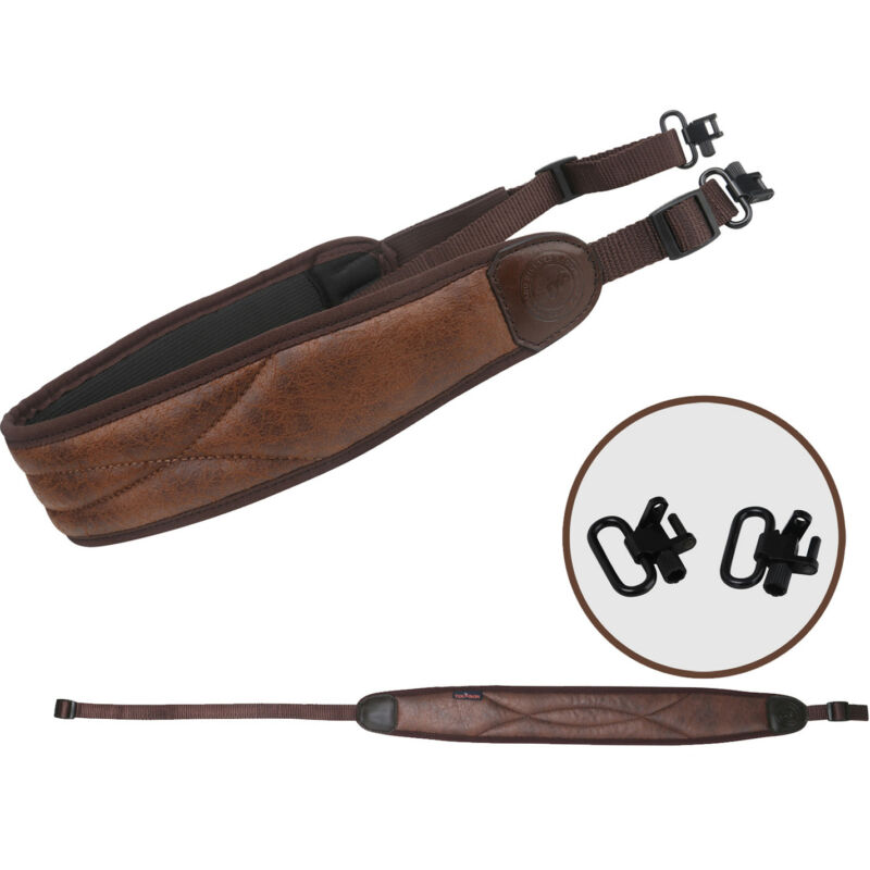 "Tourbon Shooting Rifle Sling PU Leather Padded Strap &1"" Gun Mounted Swivels Set"