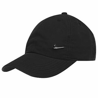 Nike Men Metal Swoosh Cap Black Baseball Hat Nike Logo Adjustable Running BLACK