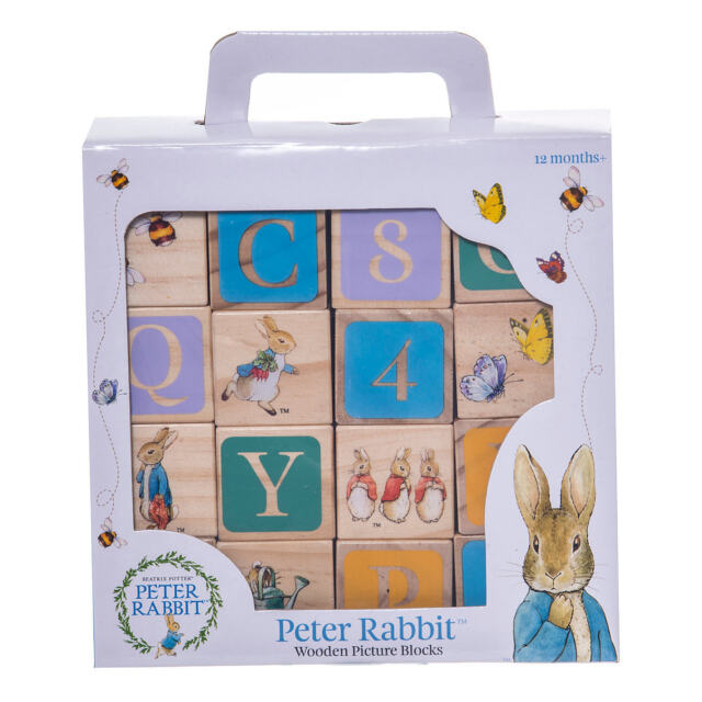 Peter Rabbit wooden blocks christening new baby gift nursery decoration