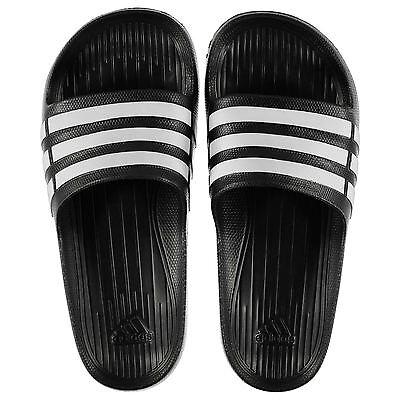 NEW Adidas Mens Duramo Sliders Flip Flops Black/White  SIZE FROM 4-18