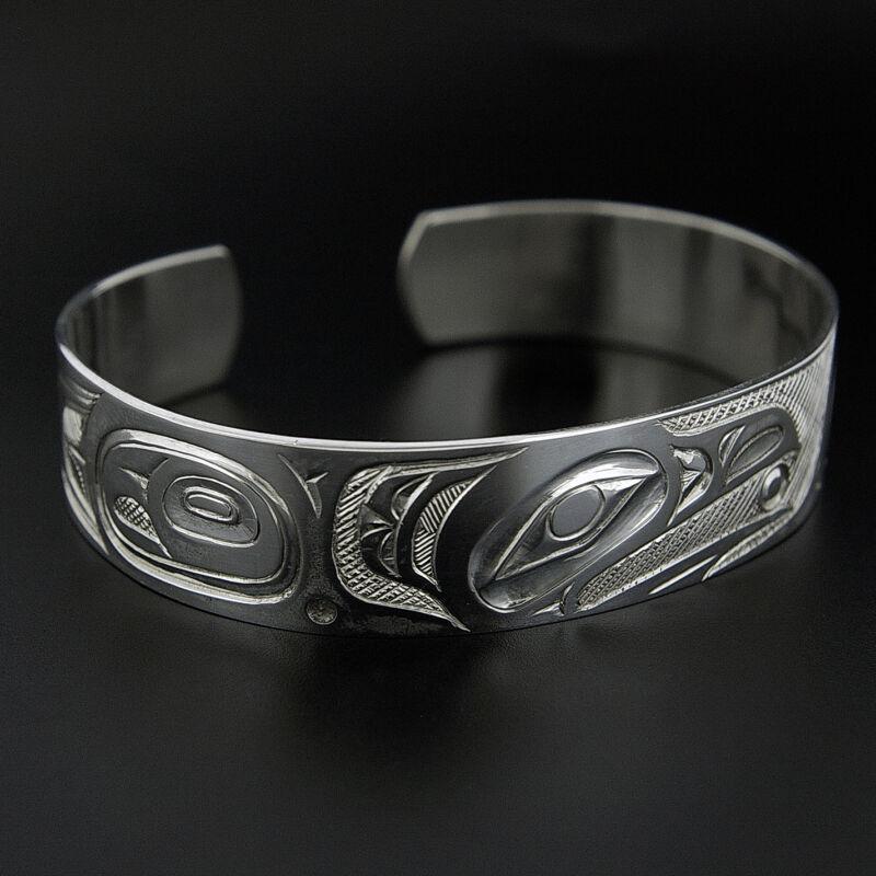 Northwest Coast Native Silver Cuff Bracelet Raven Design Haida Style Aboriginal
