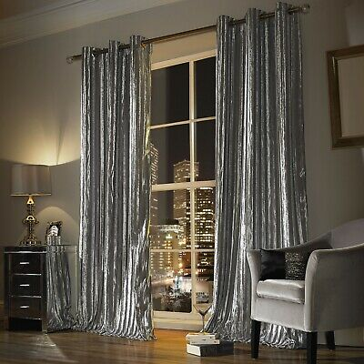 Kylie Minogue ILIANA Designer Curtains Velvet Eyelet Ring Top 90x90 229cm Silver