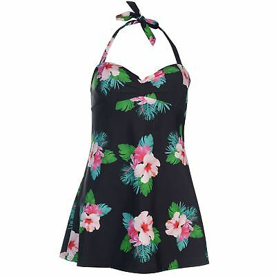 Damen Schwarz Full Circle Blumenmuster Neckholder Schwimmen Schwimmen - Neckholder Schwimmen Kostüm