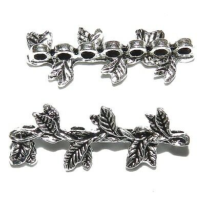 MX7182 Antiqued Silver 30mm Leaf Branch 7-Strand Spacer Bar Metal Beads 100pc