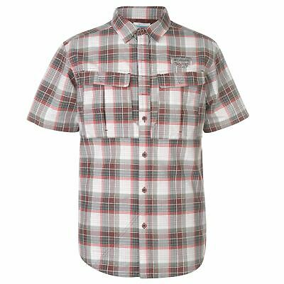 Columbia Herren Ex Shirt Kurzarm Knopfverschluss Brusttaschen Kariertes Hemd - Verschluss-brust
