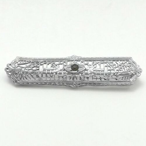 Art Deco Rhodium Plated Bar Brooch Pin 3.6 gr