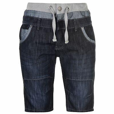 Doppel Taille Jean (No Fear Herren Denim Shorts Kurze Jeans Hose Taschen Doppel Taille Optik)