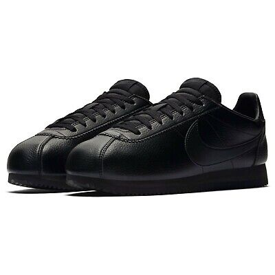Nike Mens Classic Cortez Leather Triple Black Trainers 749571 002 Multiple Sizes