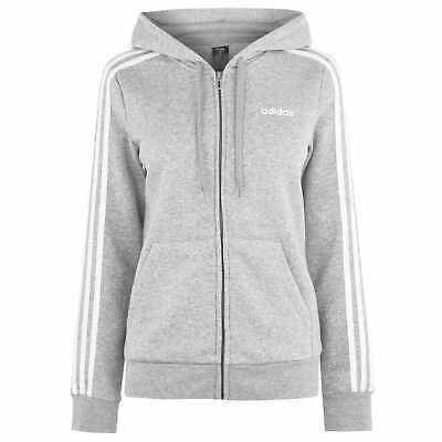 adidas Womens Essential 3 Stripe Zip Hoody Hoodie Hooded Top Cotton Elasticated