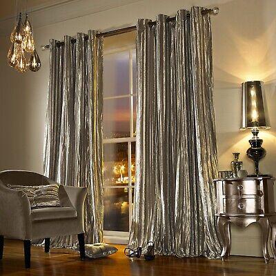 "Kylie Minogue ILIANA Designer Curtains Velvet Eyelet Ring Top 66x72"" Praline New"