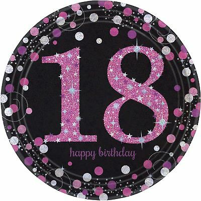 8pk Pink Sparkling Celebration 18th Birthday Prismatic Paper Plates 23cm