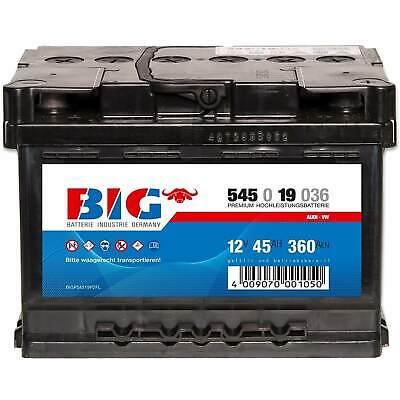 Autobatterie 12V 45Ah BIG Starterbatterie ersetzt 36Ah 41Ah 43Ah 44Ah 50Ah 55Ah