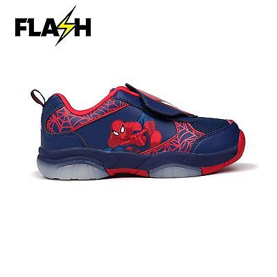 Spiderman Light Up Flash Trainers Blue/Red Sneakers Trainer Shoes Footwear - Spiderman Light Up Sneakers