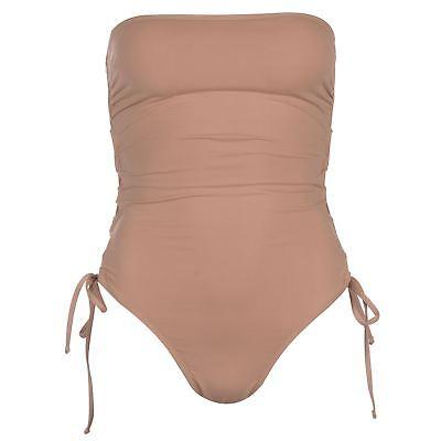 Damen Einfarbig Hautfarben Firetrap Schwarze Beschriftung Spitze Badeanzug