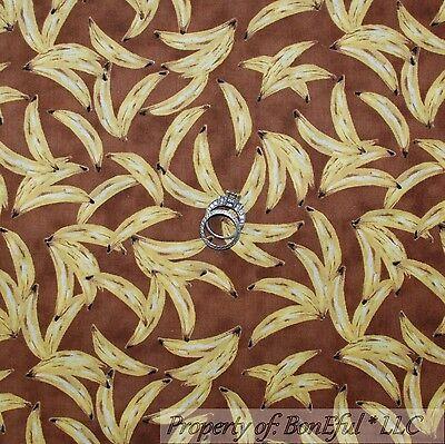 BonEful Fabric FQ Cotton Quilt Brown Yellow Banana Monkey Baby Funky Food Retro