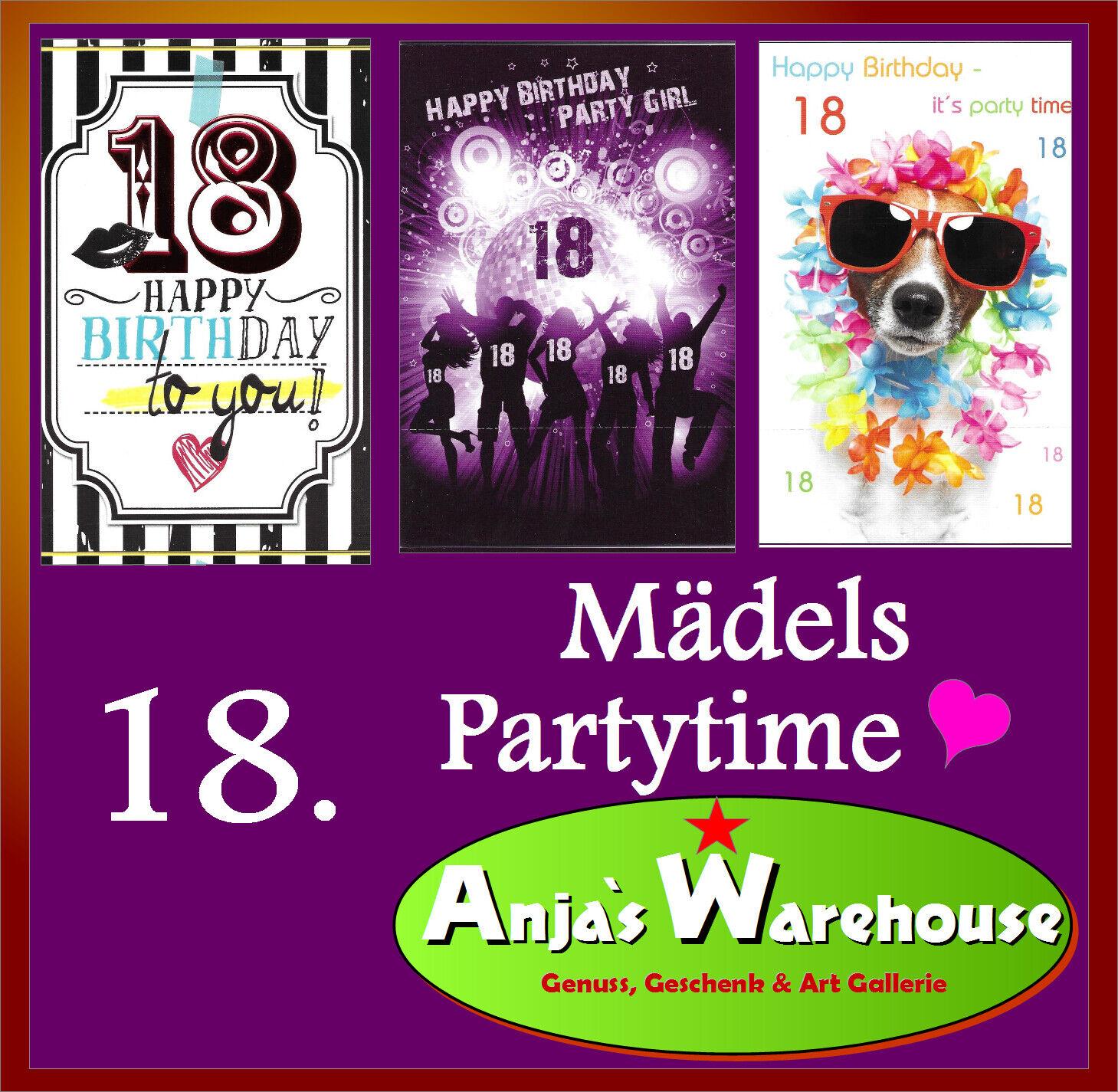 1 Karte 18. Geburtstag Mädel 💞  Happy Birthday  💞  Herzlichen Glückwunschkarte