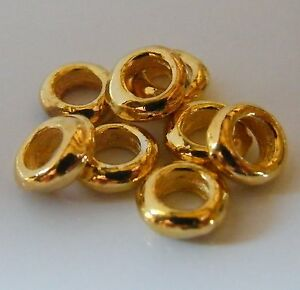 150pcs 2x6mm Metal Alloy Smooth Rondelle Spacers - Bright Gold