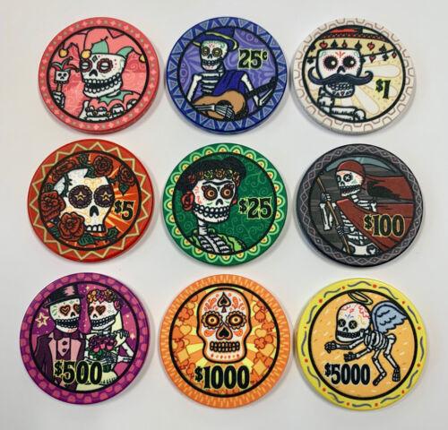 Dia de los Muertos 9 Poker Chip sample set NEW ceramic chips FREE SHIPPING
