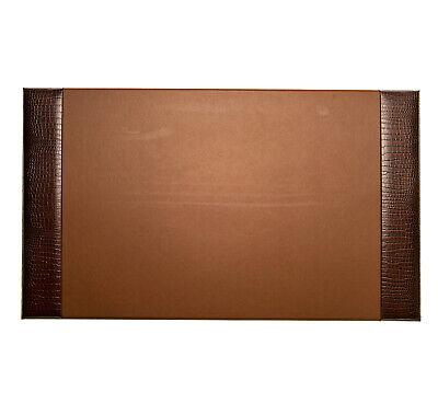 Desk Accessories - Greenwich Brown Croco Leather Desk Pad - Desk Blotter