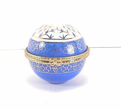 Blue & Gold Round Porcelain Hinged Box With Clock