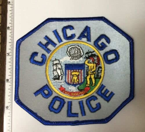 Chicago Illinois Police Blue border Blue lettering Reflective Shoulder Patch New