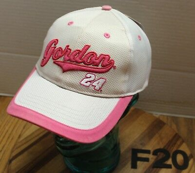 NWT WOMENS JEFF GORDON NASCAR HAT WHITE/PINK ADJUSTABLE EMBROIDERED -