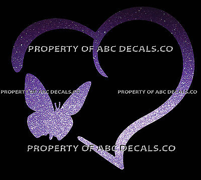 VRS HEART Outline BUTTERFLY Monarch Smooth Fly Caterpillar Kit CAR METAL DECAL  (Monarch Butterfly Kits)