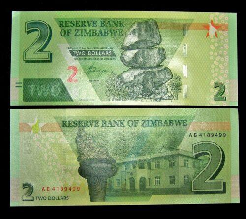 1 x ZIMBABWE 2 DOLLARS 2019 HYBRID P NEW UNC BANKNOTE/CURRENCY