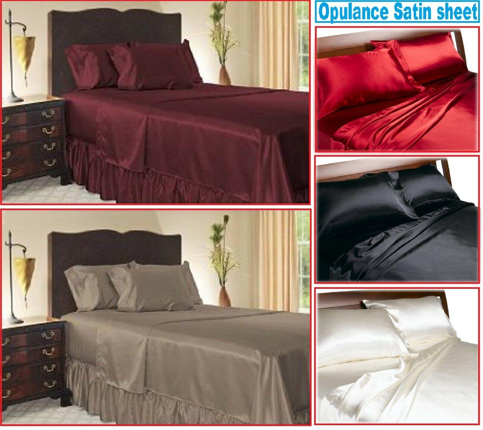 BLACK SATIN SHEETS QUEEN Size Soft Silk Feel Bedding 4pc Set Luxury Bed Linen