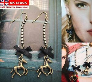 LUXURY-HORSE-STATEMENT-EARRINGS-RHINESTONE-VICTORIAN-CHANDELIER-JEWEL-VINTAGE