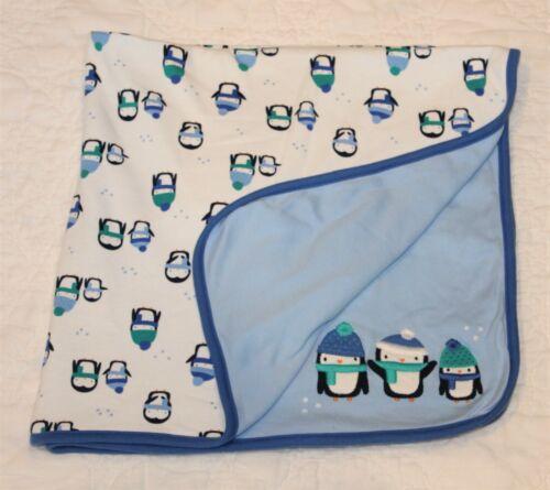 GYMBOREE WINTER BABY PENGUIN BLANKET blue reversible lovey 2016