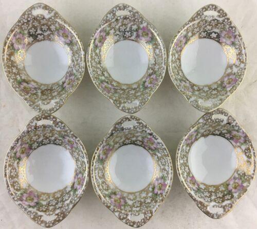ANTIQUE BUTTER PATS OR SALT CELLAR SET 6 GOLD WHITE PINK DOGWOOD FLOWER BLOSSOM