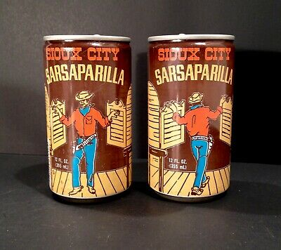Vintage 1960's 70's Sioux City Sarsaparilla Soda Pop Lot Of Two Cowboy Cans