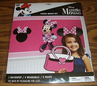 Disney Minnie Mouse Photo Booth Kit 1 Backdrop 4 Wearables 5 Props New NIP ()