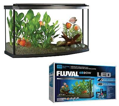 Large 45 Gallon Bow LED Aquarium Starter Kit Complete Fish Tank Filter Aqua Big