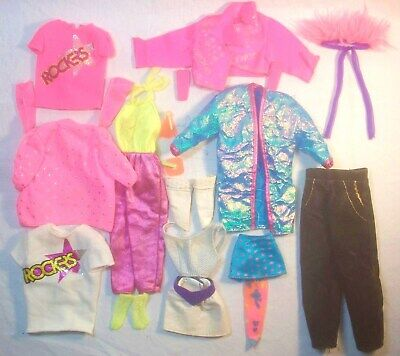 Vintage 80's Barbie & The Rockers Doll Clothes Used Mixed Lot 12 Items +
