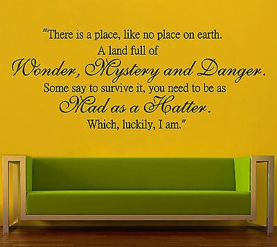 Alice In Wonderland Mad Hatter Wall Art Quote Vinyl Decal Sticker Birthday Gift