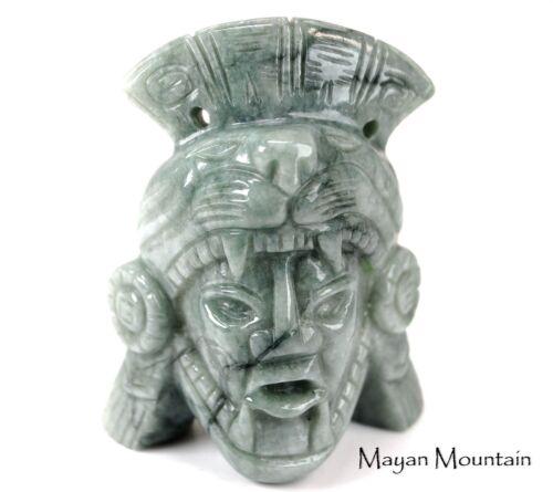 LARGE MAYAN JAGUAR WARRIOR FIGURE CARVED IN MOSSY MINT GUATEMALAN JADEITE JADE