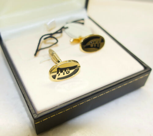 Dunhill Enamel and Gilt Sterling Silver Golf 18 Holes Cuff Links New in Box