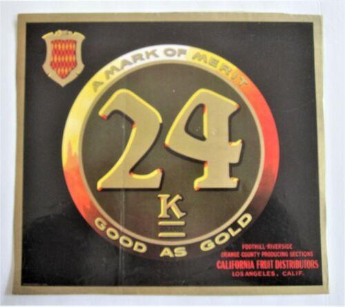 24 K Brand Orange Fruit Crate Label, original