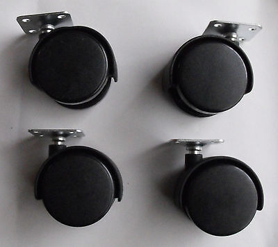 Twin Wheel Casters 2.12 Black Plastic  4pcs. Packpackage