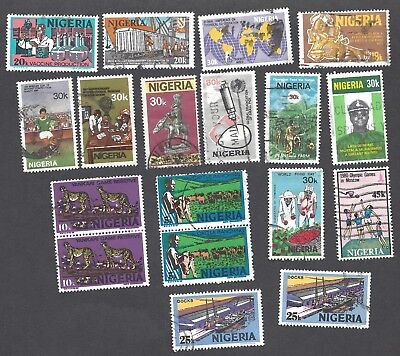 NIGERIA - SIXTEEN DIFFERENT USED STAMPS