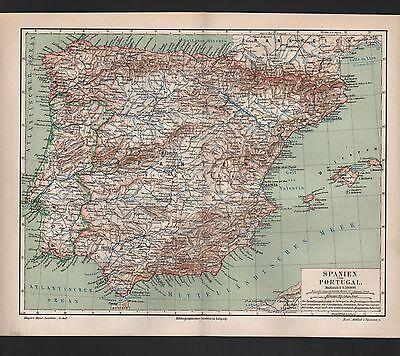 Landkarte map 1889: Spanien und Portugal. Maßstab: 1 : 4.500.000