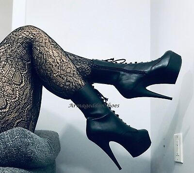 Black Leather Steampunk Victorian Stripper Boots Pleaser Heels Womans Shoes