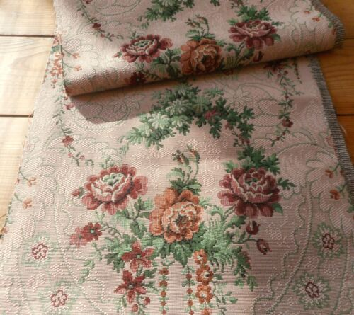 Antique Vtg French Cameo Roses Cartouche Cotton Tapestry Jacquard Fabric ~ Rose