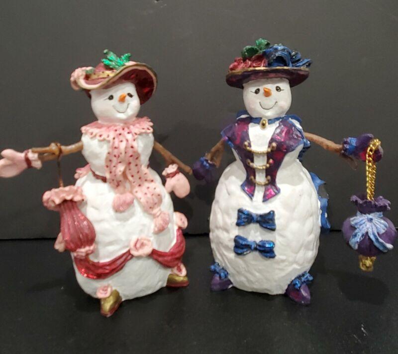 Lot of 2 Beautiful Hand-Painted Resin Snowmen / Snow Ladies - Purple / Pink
