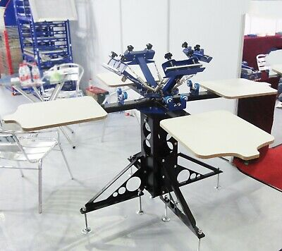 Techtognda Screen Printing Machine 4 Color 4 Station Press Shirt Rotary Printer