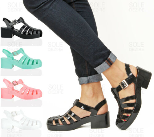 Women Ladies Black White Clear Jelly Block Heel Summer