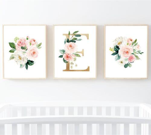 3 Blush Pink Gold Floral Personalised Monogram Nursery Prints Flowers Art 614-A